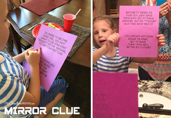 Mirror Spy Birthday Party Mission Clue {OneCreativeMommy.com}