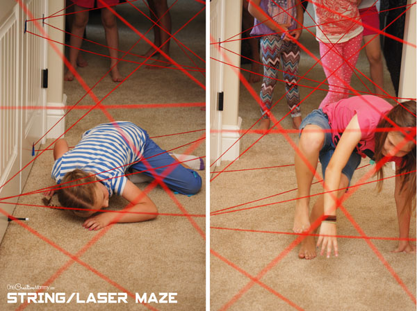 Spy Birthday Party -- Laser/String Maze {This was the hit of the party!}