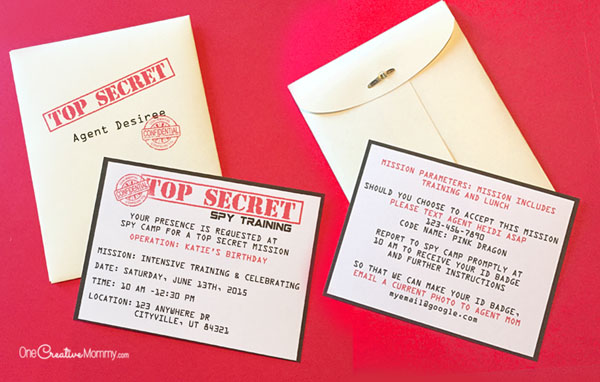 Printable Spy Party Invitations onecreativemommy – Spy Party Invitation