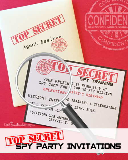 printable spy party invitations   onecreativemommy