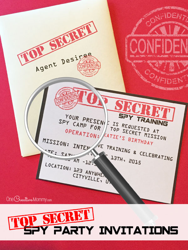 printable spy party invitations