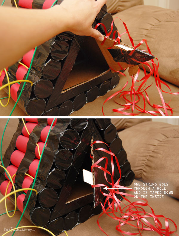 How to assemble a Time Bomb Piñata for a Spy Birthday Party {OneCreativeMommy.com}