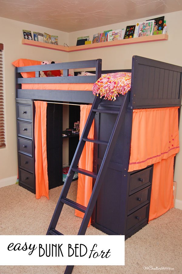 I love how she turned an annoying bunk bed into a fun bunk bed fort for her daughter! I have to try this. {OneCreativeMommy.com}