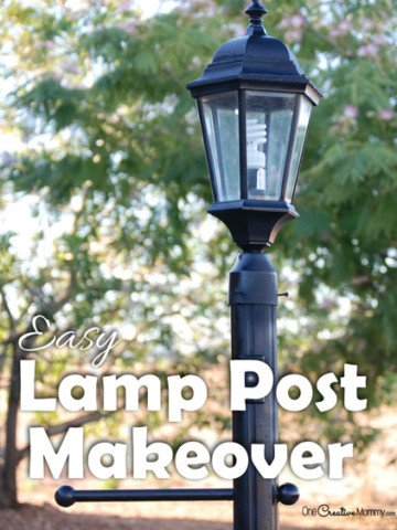 Take your shabby lamp post from drab to fab with this quick and easy Lamp Post Makeover {OneCreativeMommy.com} What a difference!