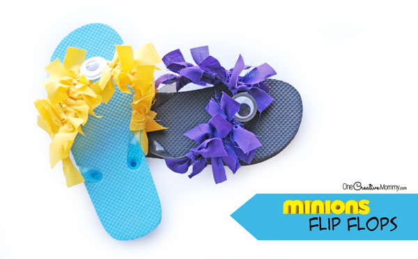Bust summer boredom with adorable Minion Flip Flops! They're perfect for a Minion birthday party or as a fun kids craft. Make purple minions, yellow minions, or one of each! {OneCreativeMommy.com}