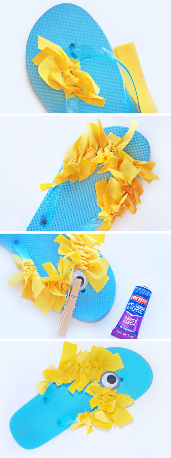 These minion flip flops look so easy! We've got to make these at our Minions birthday party! {OneCreativeMommy.com}