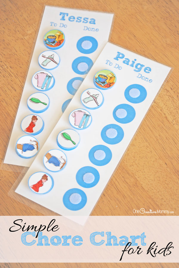 Help little ones establish routines and learn responsibility with this super simple chore chart for kids! {OneCreativeMommy.com}