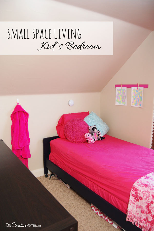 Love this creative idea for small space living! She was tired of her kids fighting over keeping their room clean, so she created an extra bedroom. You'll never guess where she put it! {OneCreativeMommy.com}