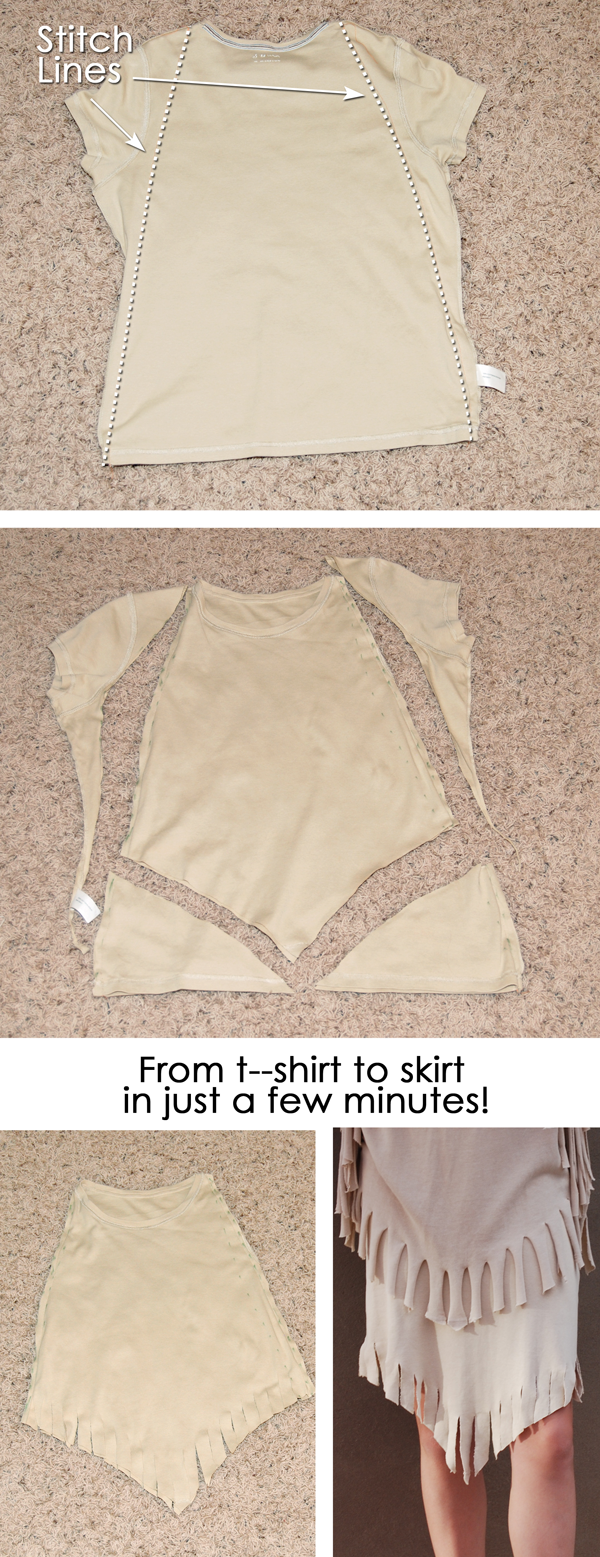 You only need to sew two straight lines to turn this t-shirt into an Indian skirt. {OneCreativeMommy.com} Halloween Costumes for Kids