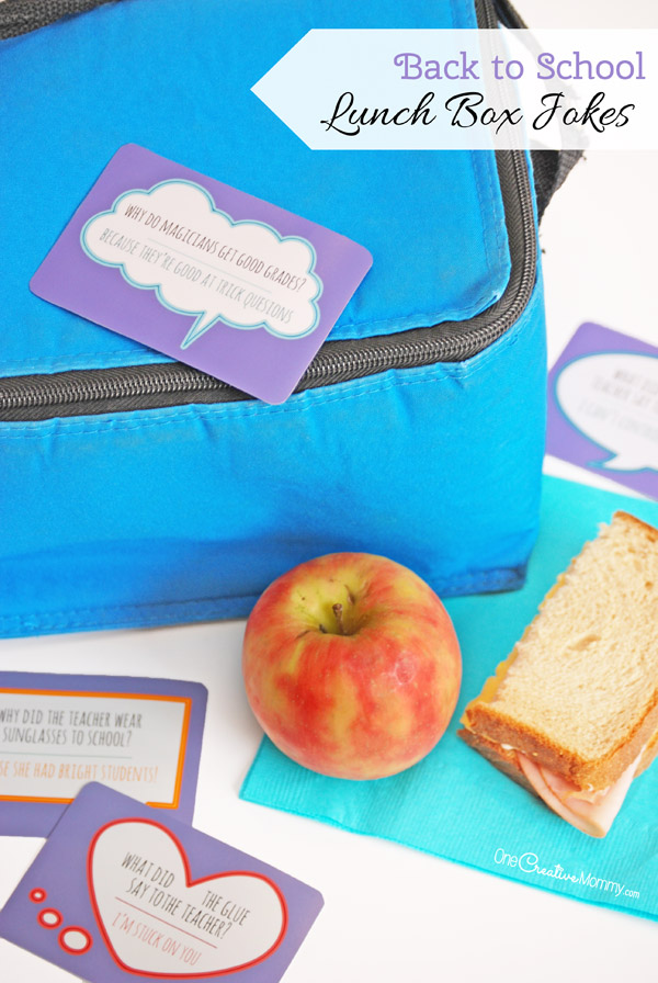 These Lunch Box Jokes are perfect for back to school! Send your kids a smile from home and give them an ice breaker to use with new friends at lunch. {OneCreativeMommy.com} Free printables!