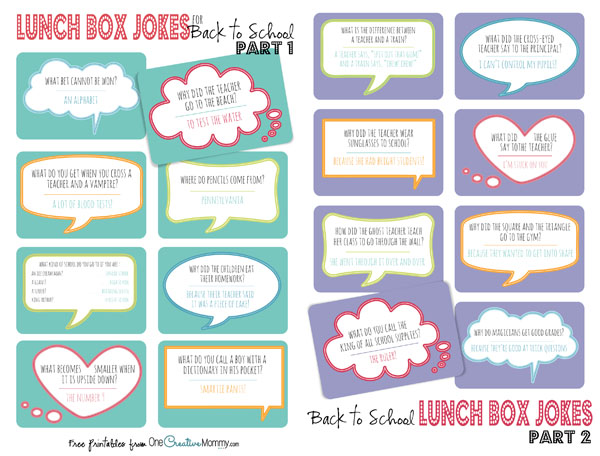 Save printer ink and download these jpg files to print Lunch Box Jokes Part 1 and 2 at your favorite photo printer. {PDF versions also available at OneCreativeMommy.com}