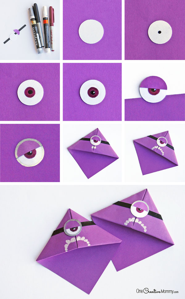 How to make a purple minion bookmark {OneCreativeMommy.com} Part 2 of 2