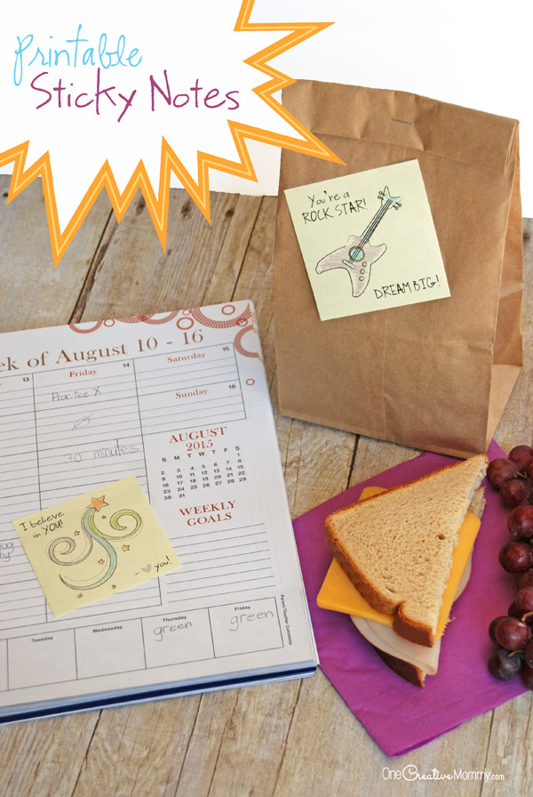 Hide these cute printable sticky notes in your kid's lunch and backpacks, and make their day! {OneCreativeMommy.com} #FuelTheirAdventures #Ad