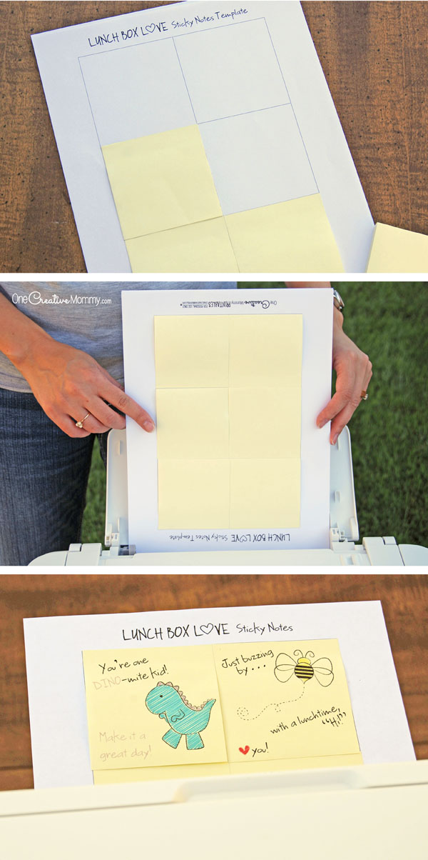 It's so easy to print on sticky notes! {Easy tutorial and printables on One Creative Mommy} #FuelTheirAdventures #Ad