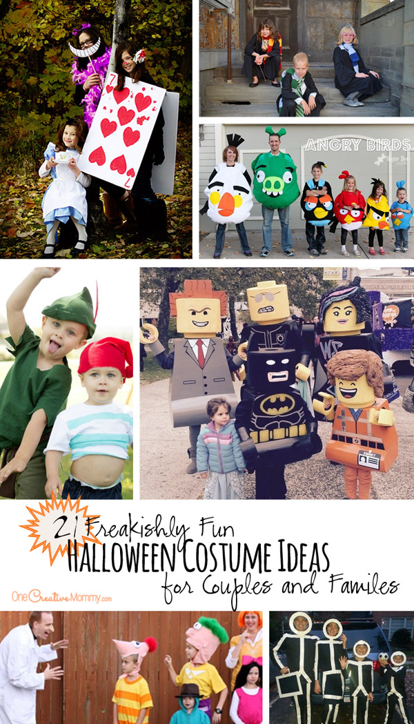 21 Freakishly Fun Halloween Costume Ideas for Families and Couples {OneCreativeMommy.com} Maybe this will be the year that my family finally let's me do a group costume! Which one is your favorite?