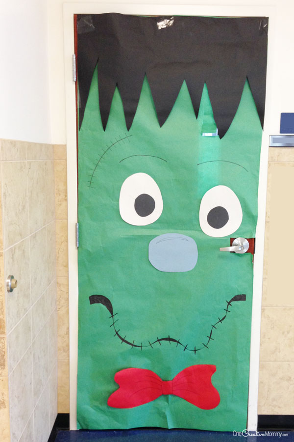 Simple Frankenstein Door Idea | Quick and Easy Halloween Classroom Door Decorations {OneCreativeMommy.com}