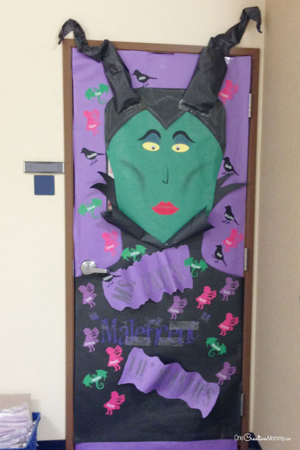 Maleficent Door Idea | Quick and Easy Halloween Classroom Door Decorations {OneCreativeMommy.com}