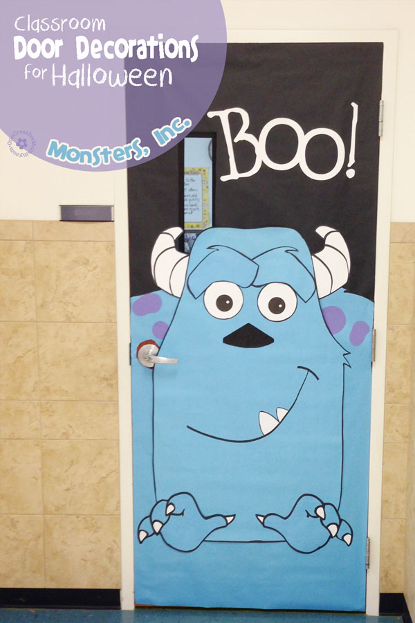 Monsters, Inc. Idea | Quick and Easy Halloween Classroom Door Decorations {OneCreativeMommy.com}
