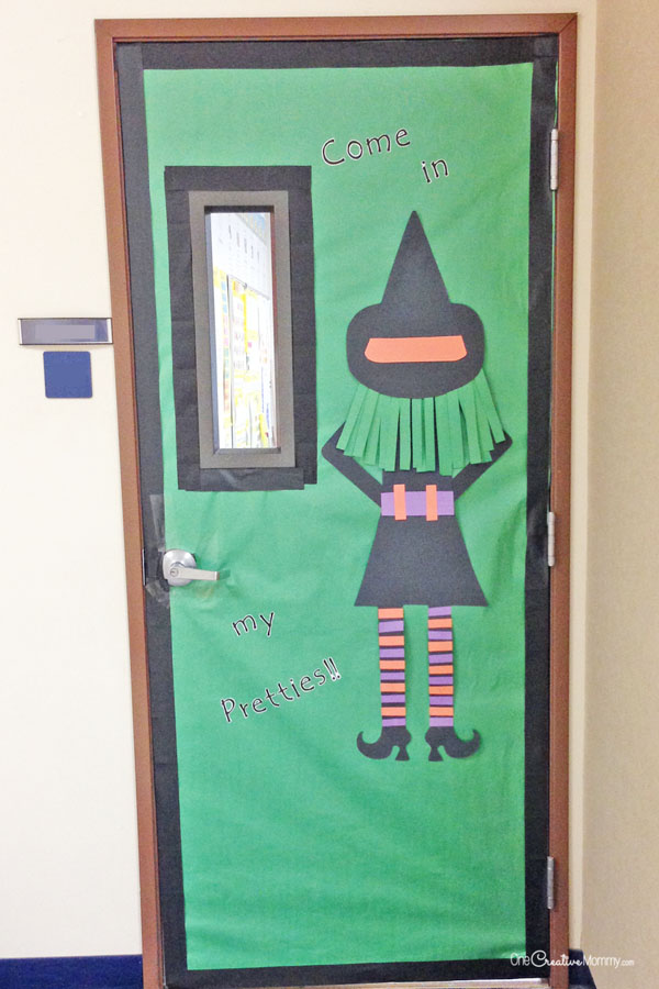 cute witch door quick and easy halloween classroom door decorations onecreativemommycom - Cute Halloween Door Decorating Ideas