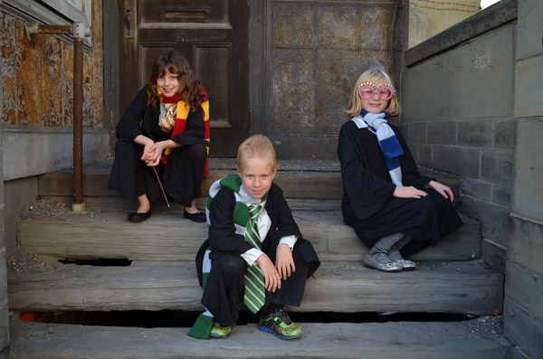 These Harry Potter themed costumes are perfect for a family {Featured on OneCreativeMommy.com's Family Halloween Costume Roundup}