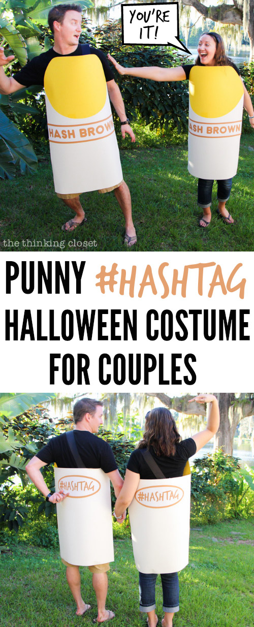 Love this punny #Hashtag Couple's Halloween Costume {Featured on OneCreativeMommy.com's Couples and Family Halloween Costume Roundup}