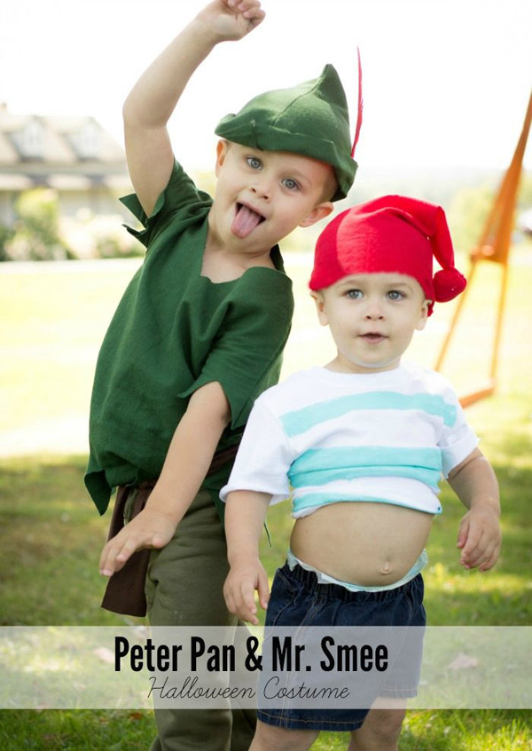 Watch out Captain Hook! Peter Pan and Mr. Smee will get you out of sheer cuteness! {Featured on OneCreativeMommy.com's Couple's and Family Halloween Costume Roundup}
