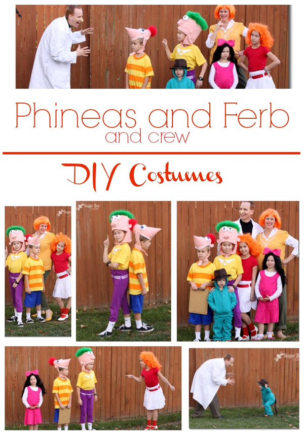 Phineas and Ferb Family costume idea featured on OneCreativeMommy.com's Family Halloween Costume Roundup