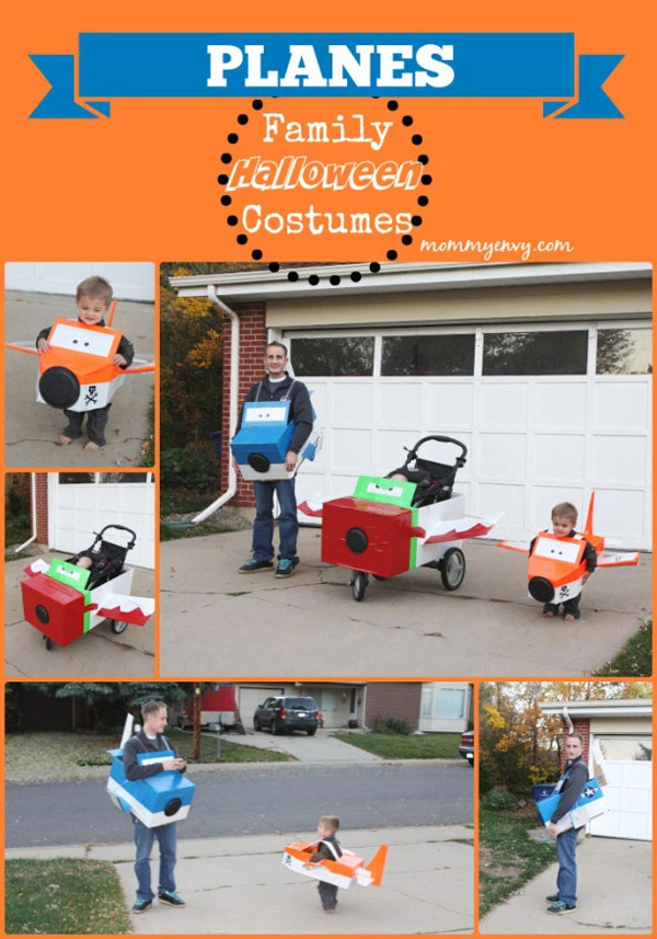 One incredibly creative creative family of Planes! Love this costume idea! {Featured on OneCreativeMommy.com's Couple's and Family Halloween Costume Roundup}