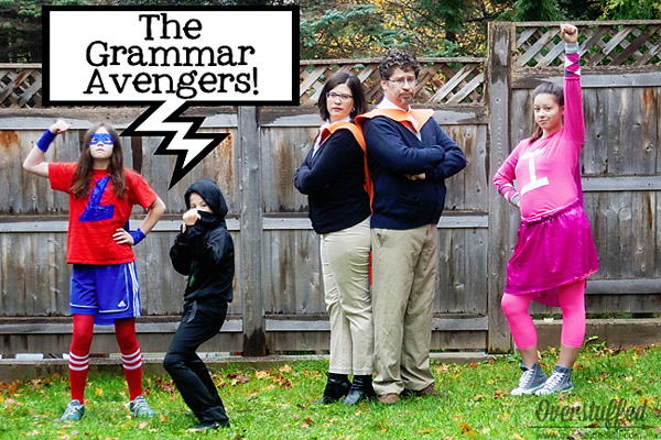 "Have no fear! The Grammar Avengers are here! ""Super"" fun family costume idea! {Featured on OneCreativeMommy.com's Couple's and Family Halloween Costume Roundup}"