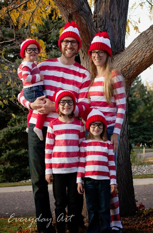 youll have no trouble finding waldo with these adorable wheres waldo costumes - Family Halloween Costumes For 4