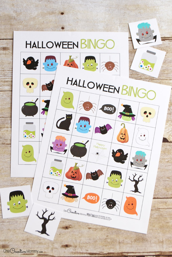 Free Halloween Bingo boards | Perfect for families, room moms and party planners! {OneCreativeMommy.com} This game is so fun at a class party! #halloween #bingo #printable #school #backtoschool #partyideas