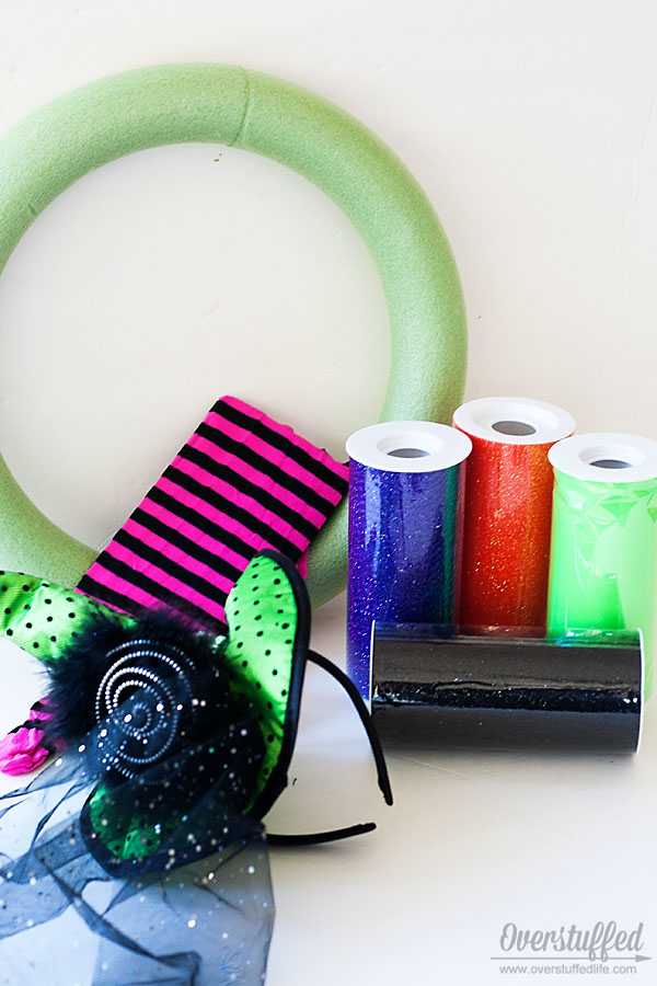 Witchy Halloween wreath supplies {OneCreativeMommy.com}