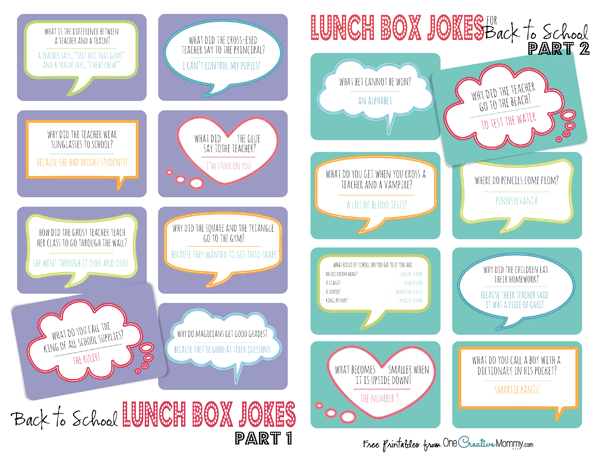 graphic relating to Lunch Box Jokes Printable named Lunch Box Jokes for Back again in direction of College or university Element 2