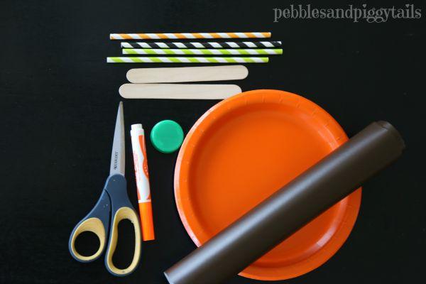 Paper plate pumpkin mask Halloween kids craft -- materials