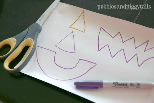 Paper Plate Pumpkin Mask Halloween Kids Craft Steps