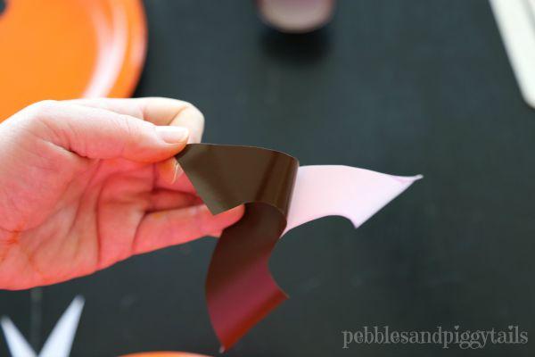 Paper plate pumpkin mask Halloween kids craft -- steps