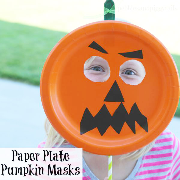 This cute paper plate pumpkin mask looks like such an easy Halloween craft to make with the kids! {Pebbles and Pigtails on OneCreativeMommy.com}