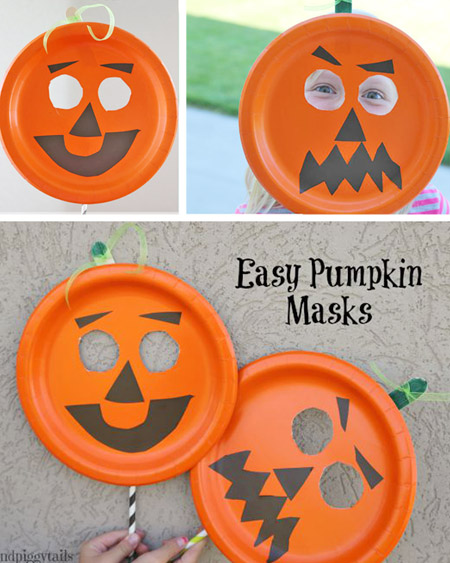 Easy Paper Plate Pumpkin Mask Onecreativemommy Com