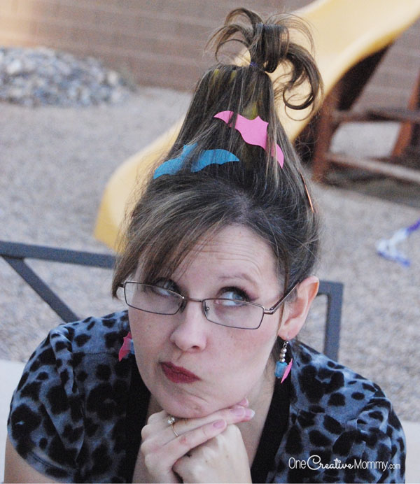 Silly Halloween Hair Idea | Bats in the Belfry {OneCreativeMommy.com}