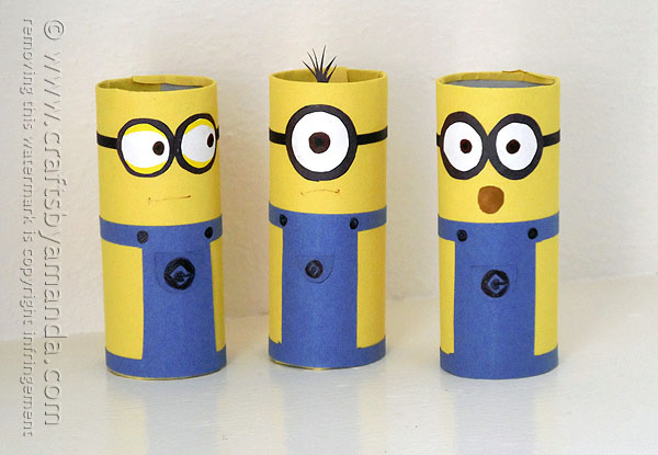 Cardboard Tube Minions by Crafts by Amanda | Featured on Minions Party Roundup {OneCreativeMommy.com} So many great ideas!