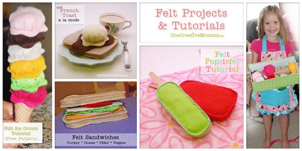 Felt Food Tutorials from OneCreativeMommy.com