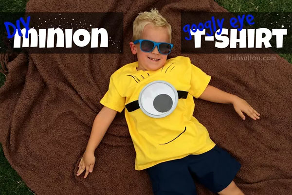 These googly eye Minion T-shirts from Trish Sutton are perfect for a Minions birthday party!| Featured on Minions Party Roundup {OneCreativeMommy.com} So many great ideas!