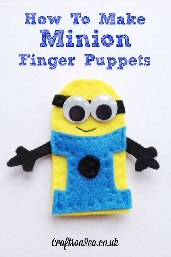 Love these adorable Minions Finger Puppets from Crafts on the Sea!| Featured on Minions Party Roundup {OneCreativeMommy.com} So many great ideas!