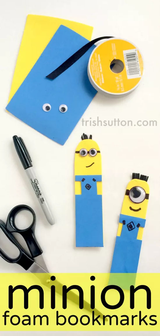 Love these Minion Foam Bookmarks from Trish Sutton!| Featured on Minions Party Roundup {OneCreativeMommy.com} So many great ideas!
