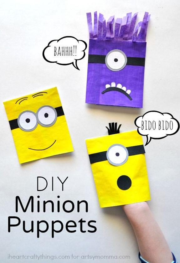 These Minion Puppets from I Heat Crafty Things are so cute!| Featured on Minions Party Roundup {OneCreativeMommy.com} So many great ideas!