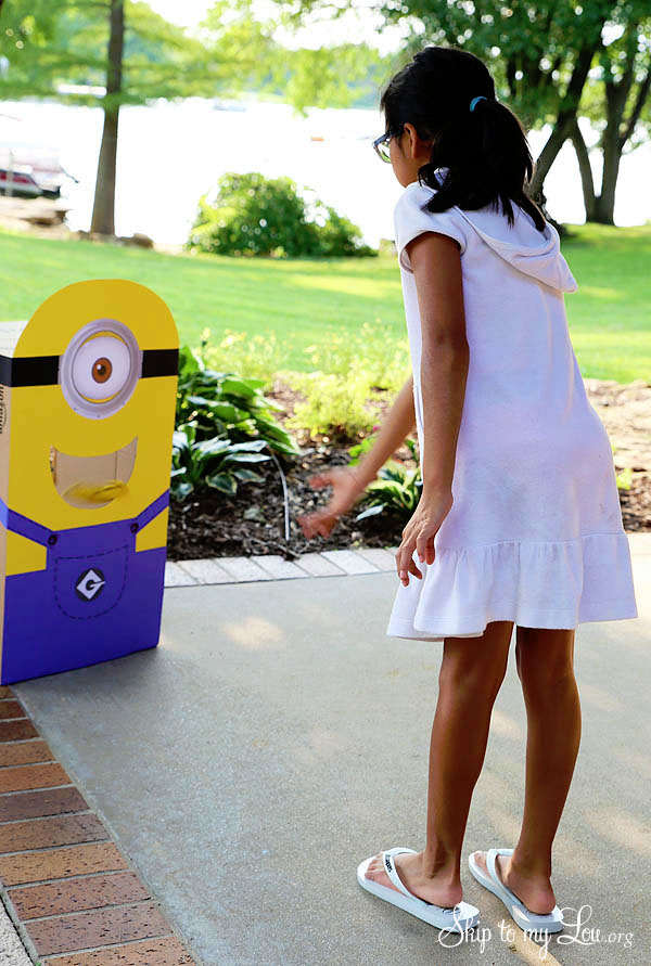 Minion Toss Game from Skip to My Lou | Featured on Minions Party Roundup {OneCreativeMommy.com} So many great ideas!