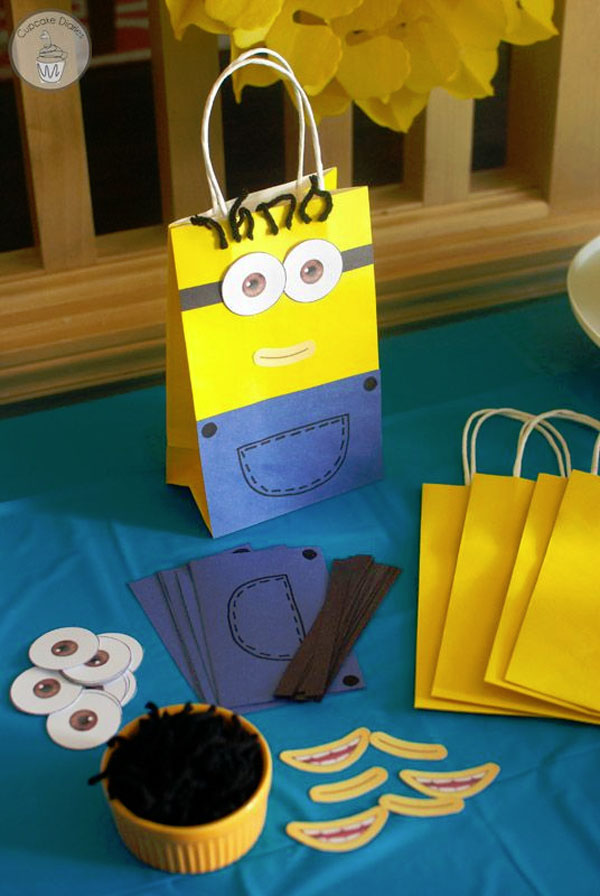 Minion Treat Bags Craft from Cupcake Diaries | Featured on Minions Party  Roundup {OneCreativeMommy.