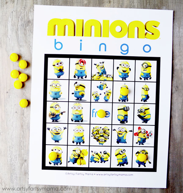 Minions Bingo from Artsy Fartsy Mama | Featured on Minions Party Roundup {OneCreativeMommy.com} So many great ideas!