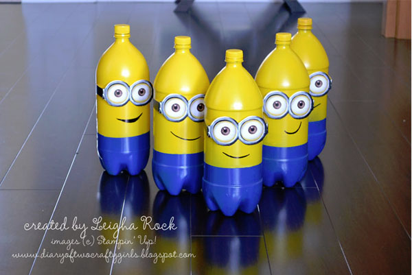 Minions Bowling from Diary of Two Crafty Girls | Featured on Minions Party Roundup {OneCreativeMommy.com} So many great ideas!
