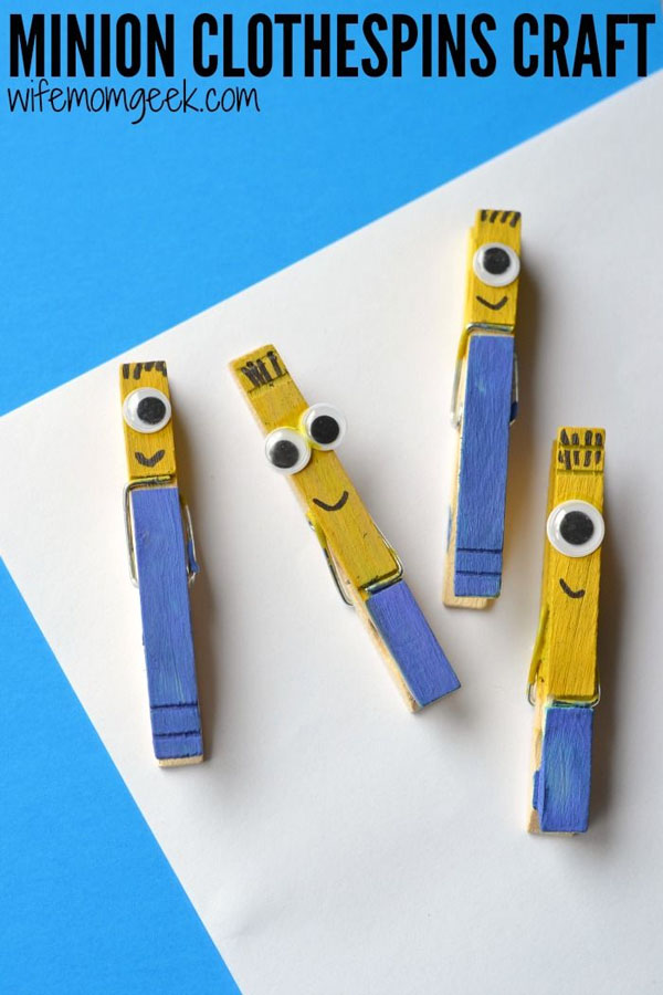 Minions Clothespins Craft from Gluesticks and Gumdrops | Featured on Minions Party Roundup {OneCreativeMommy.com} So many great ideas!
